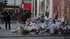 Memorial Flower and Candles in Brixton Stock Footage