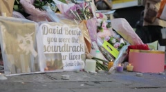 Low Shot of David Bowie Memorial Stock Footage
