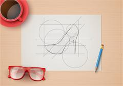 Creative workplace of fashion designers. Top view Stock Illustration