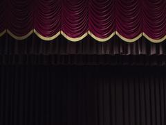 Stage curtains in theater - stock photo