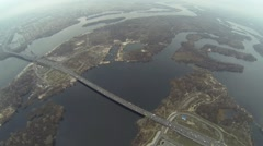 Aerial shot of Southern bridge over the Dnieper in Kiev - stock footage