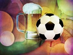 Beer Glass and Soccer Ball - stock illustration
