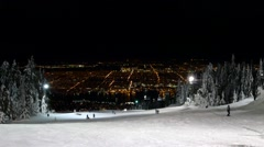Alpine Skiing Resort - 57 - Night, Forest, Slopes, People, Lift, City Stock Footage