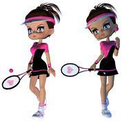 Cartoon Tennis Player Stock Illustration