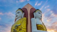 KyaikPun Pagoda Landmark Of Bago, Myanmar Time Lapse Sunset Stock Footage