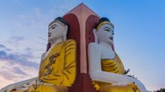 Kyaikpun Buddha Landmark Of Bago, Myanmar Time Lapse Sunset Stock Footage