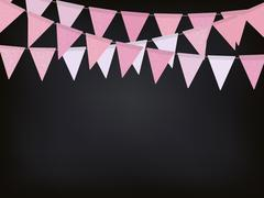 Background with pink flag garlands for Valentines day - stock illustration