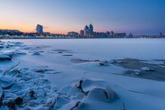 Winter Night Cityscape close to the Dnieper River in Kiev - stock photo