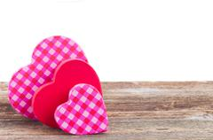 Two red and  pink  hearts Stock Photos