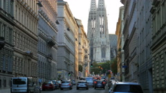 Street near freud museum, votive church at background, vienna, austria Stock Footage