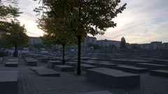 Stock Video Footage of Early morning pan across the Memorial to the Murdered Jews