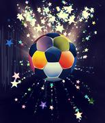 Stars Explosions and Soccer Ball Stock Illustration