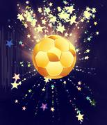 Stars Explosions and Soccer Ball - stock illustration