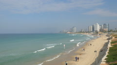 Mediterranean sea, Israel, Tel Aviv, Old Jaffa, panning Stock Footage