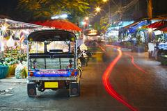 Tuk tuk taxi at the night - Bangkok, Thailand - stock photo