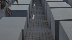 Early morning tilt up the Memorial to the Murdered Jews in Berlin - stock footage