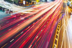 Busy street at the night - Bangkok, Thailand Stock Photos