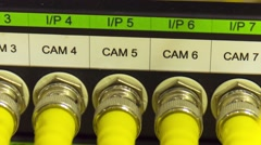 Data Center Servers With Yellow Cable Upload And Download Server  - Pan Right Stock Footage