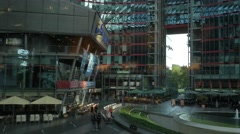Pan across the interior of the Sony Center Stock Footage