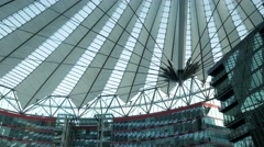 Tilt down from the dome of the Sony Center in Berlin Stock Footage