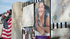 Posters Memorializing Victims of San Bernardino Terrorist Attack 2015 Stock Footage