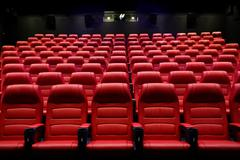 Movie theater empty auditorium with seats Stock Photos