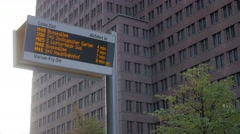 Bus stops at Sony Center in Berlin Stock Footage
