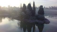 Blenheim Winter: Queen Pool Island Stock Footage