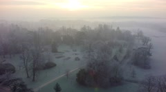 Blenheim Winter: Over Roundel Stock Footage
