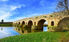 Puente Romano bridge in Merida, Spain Stock Photos