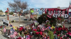 Flowers, Gifts at Memorial at Location of San Barnardino Shooting - stock footage
