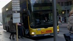 Bus stops at Sony Center in Berlin - stock footage