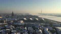 Stock Video Footage of HD wide angle handheld shot of Riga, Latvia in winter