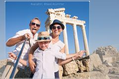Happy family selfie travel photo cropping for share in social network Stock Photos