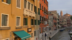 Hotel Walter and Hotel Gardena on Fondamenta dei Tolentini in Venice Stock Footage