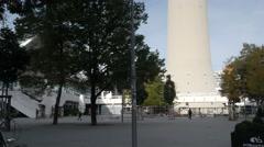 Tilt shot up Fernsehturm in Alexanderplatz Stock Footage