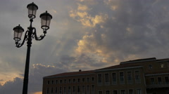 beautiful view of a vintage lamp post and a building at evening in Venice - stock footage