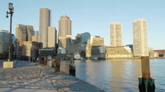 Boston Harbor City View Morning Stock Footage