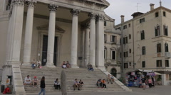 People in front of Chiesa San Simeon piccolo in Venice Stock Footage