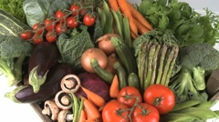 ORGANIC VEGETABLES IN A BOX Stock Footage