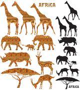 African Animal Silhouettes Stock Illustration