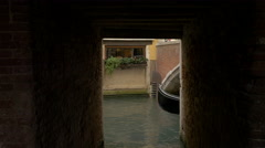 Stock Video Footage of Two gondolas with tourists navigating in parallel in Venice