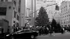 A Black and White Panning Video of The Christmas Tree in Rockefeller Center New - stock footage