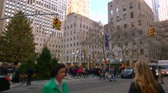 A Panning Video of The Christmas Tree in Rockefeller Center New York City - stock footage