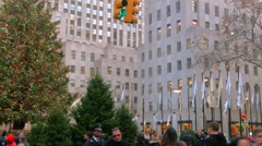 A Panning Video of The Christmas Tree in Rockefeller Center New York City Stock Footage