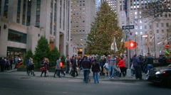 A Video of The Christmas Tree in Rockefeller Center New York City - stock footage