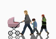 Illustrative image of woman with two children and stroller walking on white - stock illustration