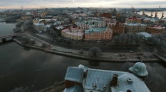 View of the historic city of Vyborg from St. Olav tower Stock Footage