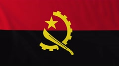 Flag of Angola waving in the wind. - stock footage