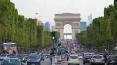 PARIS - FRANCE, AUGUST 2015: champs elysees view with traffic Stock Footage